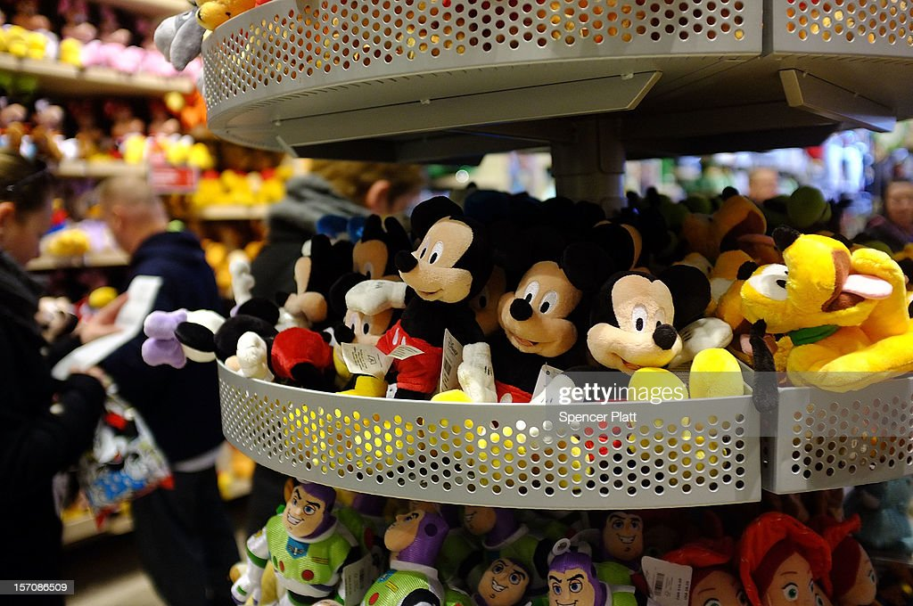 Stuffed toys are displayed at the Disney Store on November 28, 2012 in New York City. Following a fire at Tazreen Fashions Ltd. factory in Bangladesh in which 112 workers were killed on November 24, renewed scrutiny has been brought upon Western clothing companies and their responsibility for working conditions at their overseas operations. Wal-Mart's Faded Glory brand, Sean Combs' ENYCE label and apparel from the Disney Store are just some of the Western brands that were sewn at the Bangladeshi factory. As American consumers continue to demand bargain prices for clothes, retailers are under increasing pressure to balance safe working conditions with cheap labor costs.