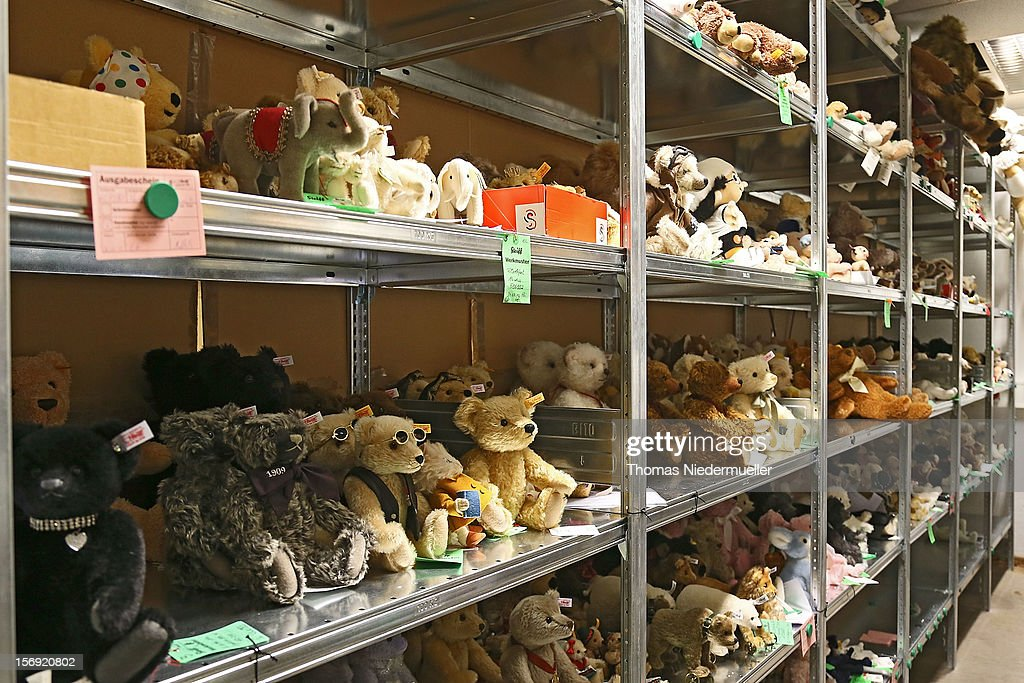 Stuffed toys fill shelves at the Steiff stuffed toy factory on November 23, 2012 in Giengen an der Brenz, Germany. Founded by seamstress Margarethe Steiff in 1880, Steiff has been making stuffed teddy bears since the early 20th century ever since her nephew Richard Steiff exhibited the first commercially produced teddy bear in Europe in 1903. Teddy bears are among the most popular children's toys and the company is hoping for a strong Christmas season.