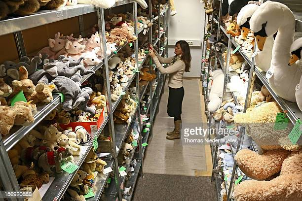 Stuffed toys line shelves at the Steiff stuffed toy factory on November 23 2012 in Giengen an der Brenz Germany Founded by seamstress Margarethe...
