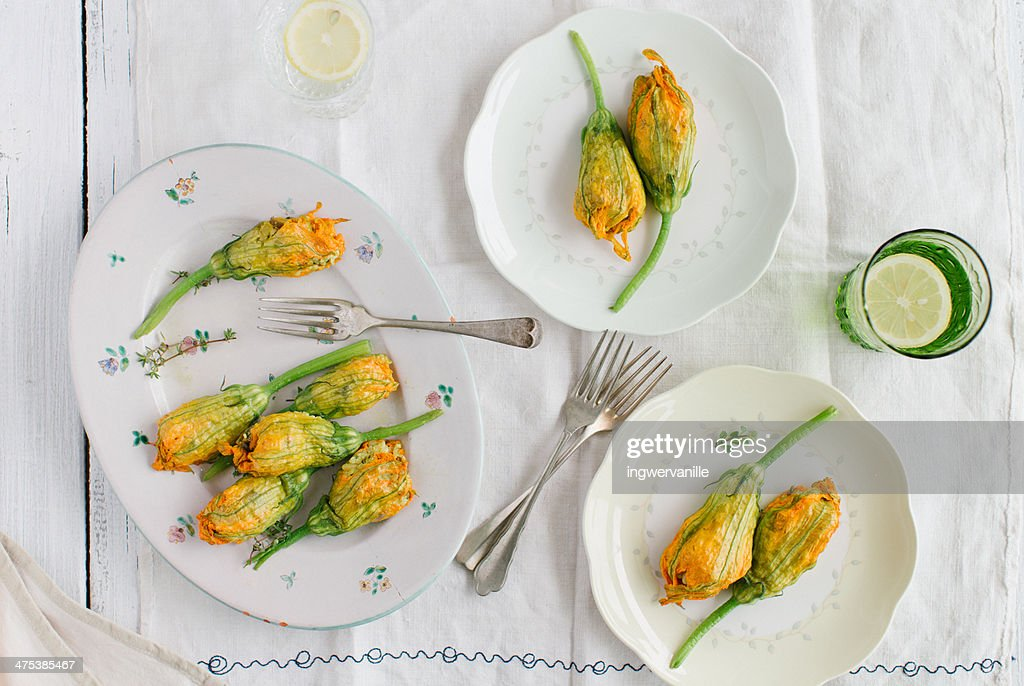 Stuffed zucchini flowers : Stock Photo
