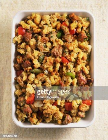 Stuffing in casserole dish