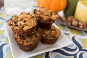 Stuffins Stuffing Muffins on white plate before Thanksgiving dinner