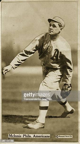 Stuffy McInnis first baseman for the Philadelphia Athletics is photographed in action for a baseball card issued by Fatima cigarettes in 1913
