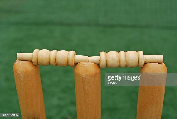 Stumps and bails on the pitch