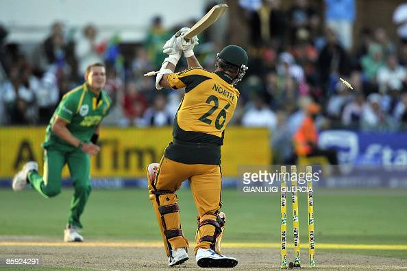 Stumps fly as Australian batsman Shane Harwood is bowled out by South African bowler Dale Steyn on April 13 2009 during the One Day International...