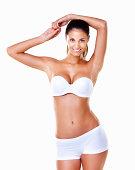 Stunning beauty in white lingerie