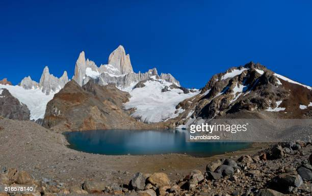 A stunning glacier lake high up Mt Fitz Foy, Argentina, Patagonia, South America