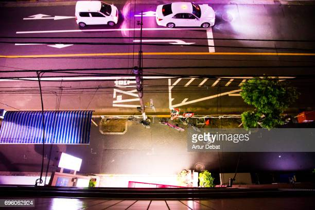 Stunning street view of the Tokyo city taken from above at night from rooftop with nice composition during travel vacations in the city.