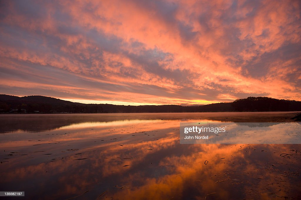 Stunning sunrise over the Connecticut River, Turners Falls, Massachusetts, USA 3 November 2010