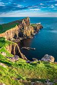 Stunning sunset at the Neist point lighthouse, Scotland
