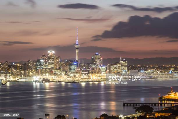 Stunning sunset over Auckland central business district