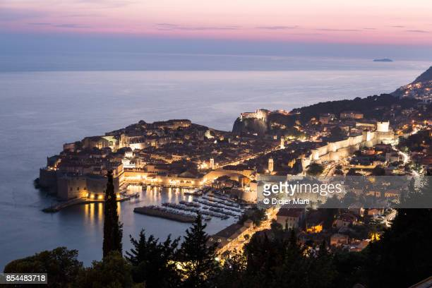 Stunning sunset over the famous Dubrovnik old town in Croatia