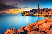 Spectacular romantic old town of Rovinj with magical sunset,Istrian Peninsula,Croatia,Europe