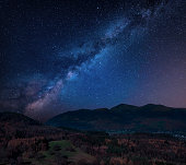 Stunning vibrant Milky Way composite landscape image over Catbells near Derwentwater in the Lake District with vibrant Fall colors all around the contryside vista