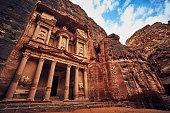Stunning view of Petra church UNESCO heritage in rock in Jordan