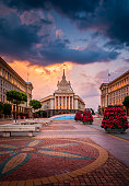 Stunning view of Sofia city center on a summer sunset in Bulgaria