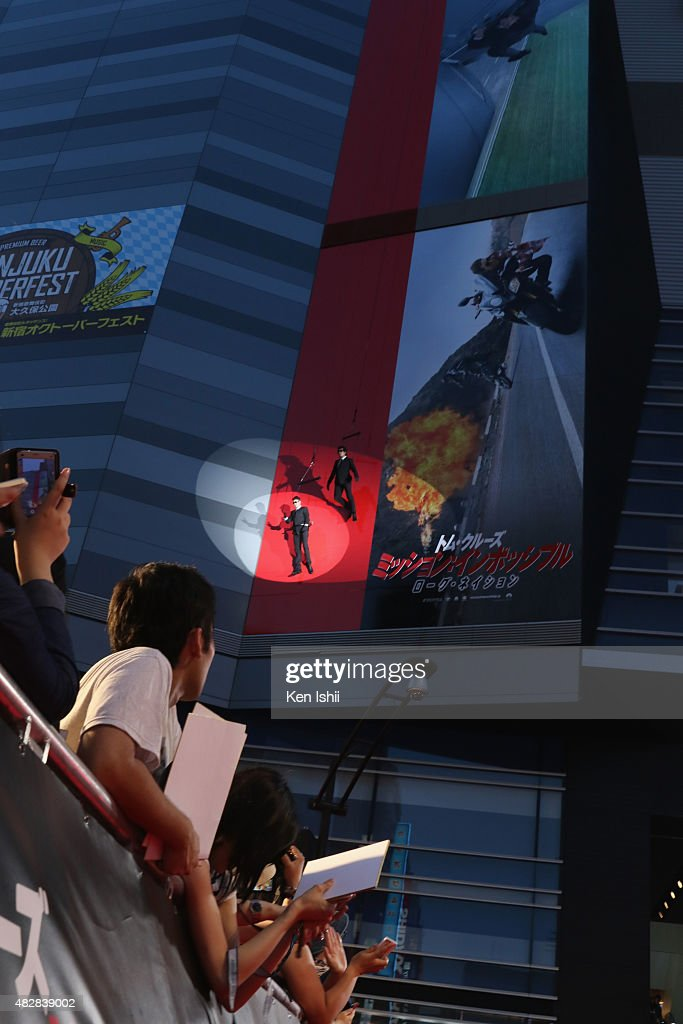 Stunt men perform during the Japan Premiere of 'Mission: Impossible - Rogue Nation' at the Toho Cinemas Shinjyuku on August 3, 2015 in Tokyo, Japan.