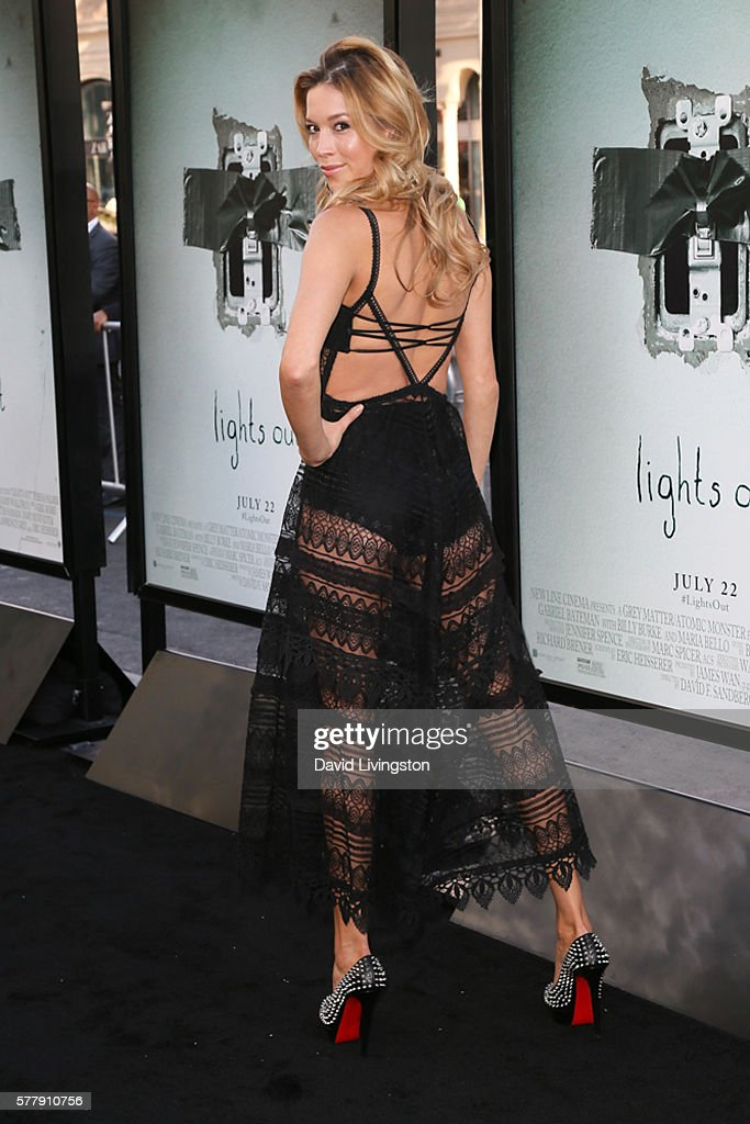 Stunt performer Alicia VelaBailey shoe detail arrives at the premiere of New Line Cinema's 'Lights Out' at the TCL Chinese Theatre on July 19 2016 in...