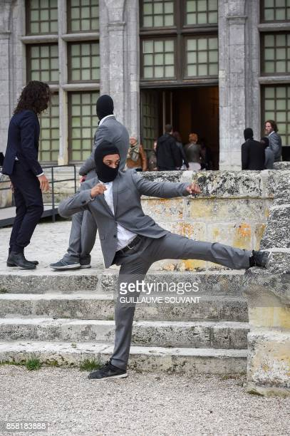 A stunt performer trains at the Chateau of Chambord on October 5 2017 during the shooting of the Indian action film 'Junga' The film in Tamil...