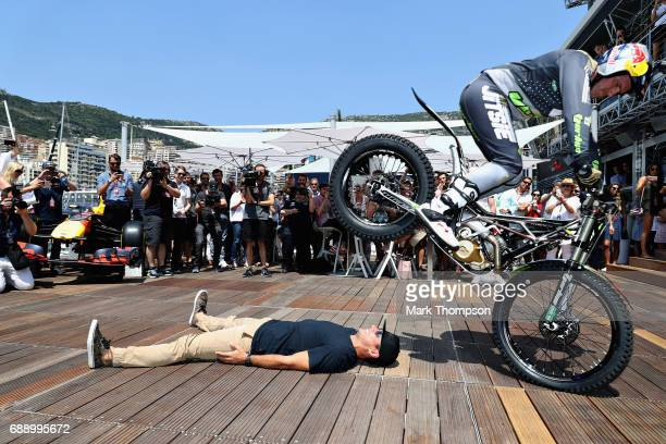 Stunt show on the Red Bull Racing Energy Station before qualifying for the Monaco Formula One Grand Prix at Circuit de Monaco on May 27 2017 in...