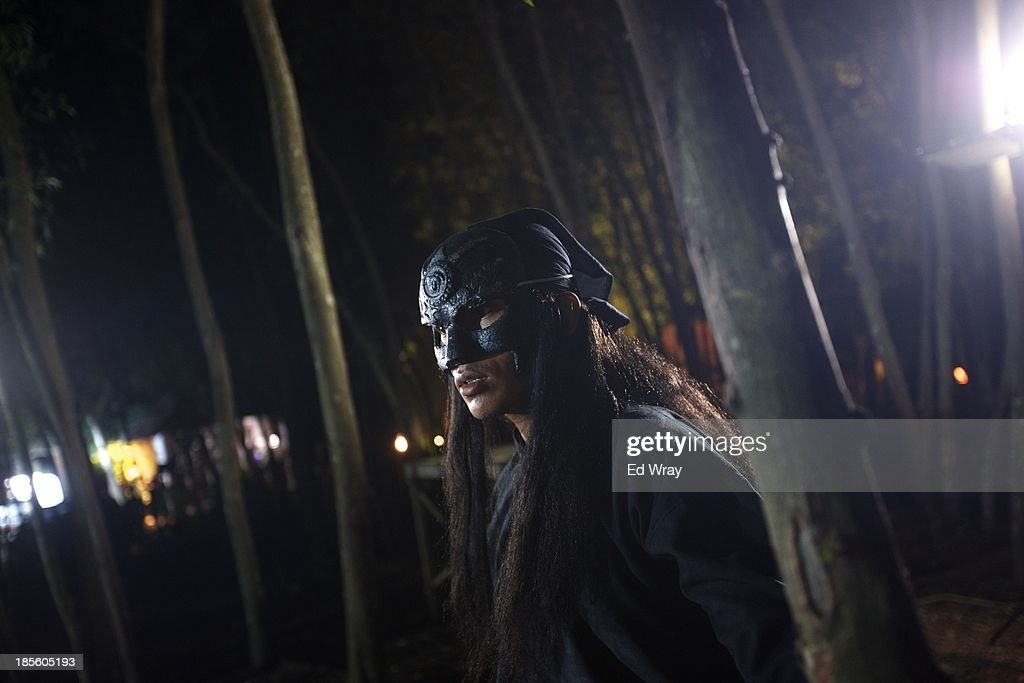 A stuntman waits for his scene during the production of Ciung Wanara, one of the many Indonesian soap operas based on traditional Indonesian legends on October 21, 2013 in Cileungsi, Indonesia. The stories often involving kings, dragons, evil ministers, witches, gods and heroes, which were traditionally performed as shadow puppet plays and by professional storytellers, have a huge audience who have embraced the complex stories, much as western audiences have taken to the fictional intrigue of Game of Thrones.