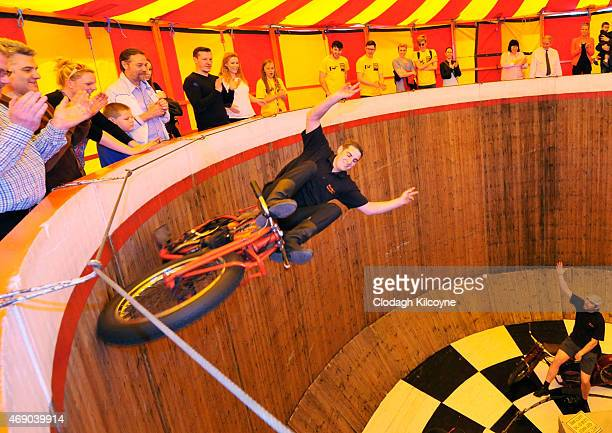 Stuntriders perform at the Messham's Wall of Death as part of 'A Matter of Life and Death' exhibition by Stephen Skrynka at RUA RED Gallery on April...