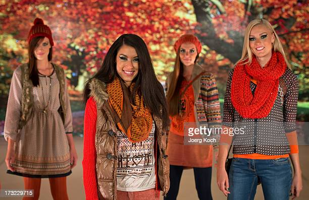 Stuntwoman Miriam Hoeller TVhost Rebecca Zarah Mir and professional models pose at the Ernsting's Family Fashion Show Fall/Winter 2013 at Hotel Vier...