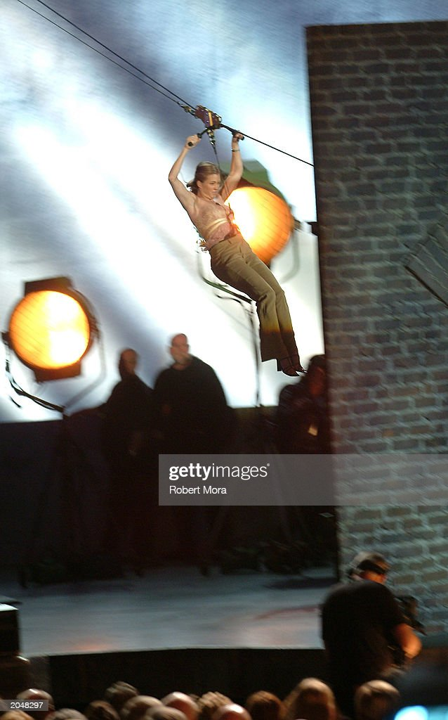 Stuntwoman Shanna Duggins drops onto the stage to present the 'Best Overall Stunt by a Woman' award during the 3rd Annual Taurus World Stunt Awards at Paramount Studios June 1, 2003 in Hollywood, California. The show will air Monday, June 9th, 8:00 pm EST/PST on the USA Network.