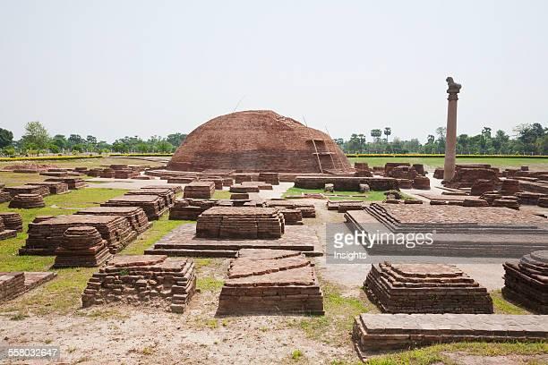 Stupa And Ashoka Pillar In Vaishali Bihar India