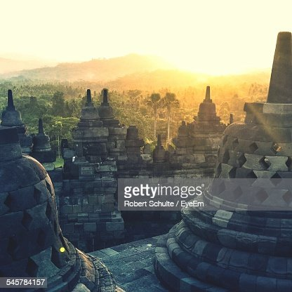 Stupas At Borobudur Temple During Sunset