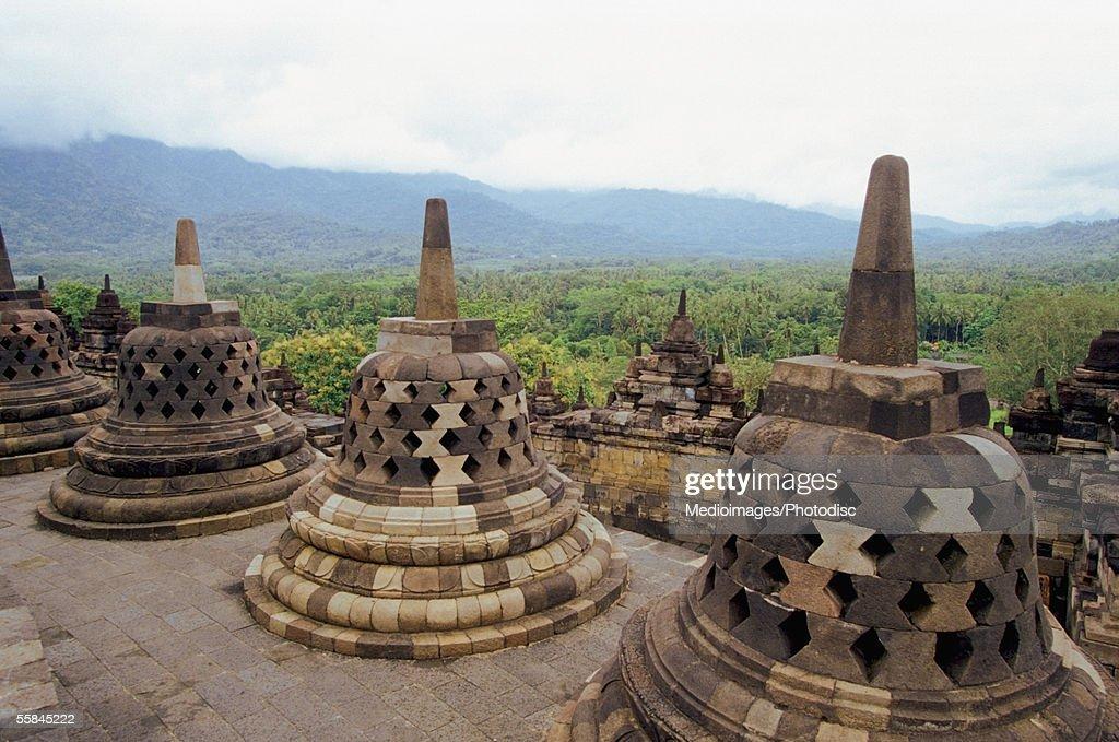 Stupas of Borobudur Temple, Java, Indonesia : Stock Photo