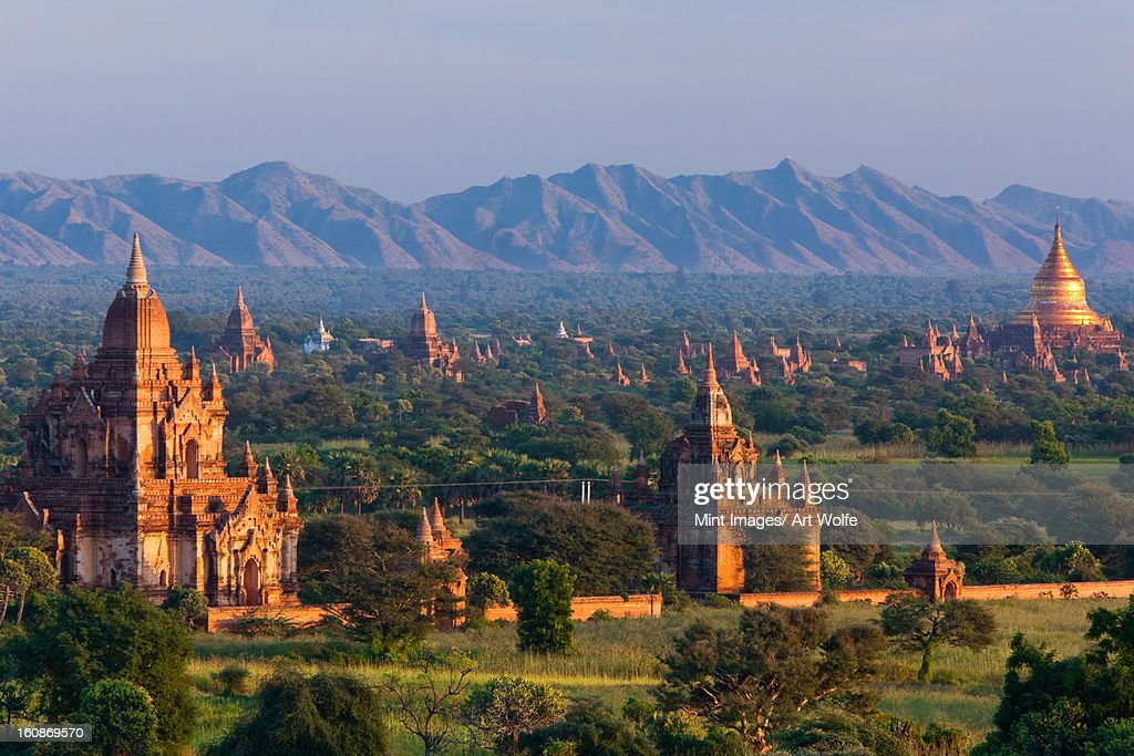 Stupas on the plains of Bagan, Myanmar. Bagan Archaeological Zone. : Stock Photo