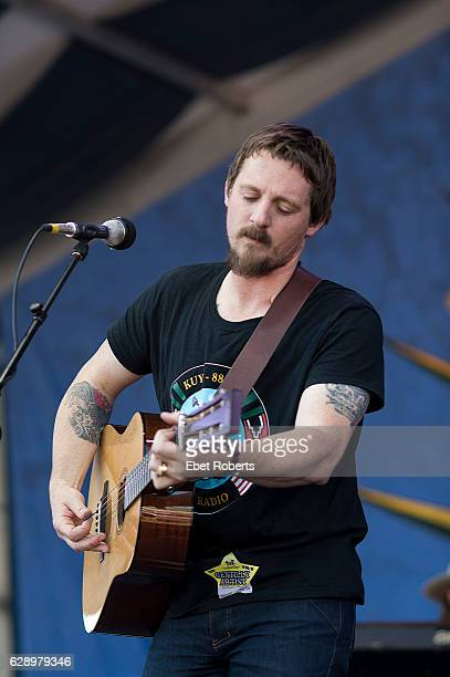Sturgill Simpson performs during the 2015 New Orleans Jazz and Heritage Festival at the Fairgrounds Race Track in New Orleans Louisiana on April 30...