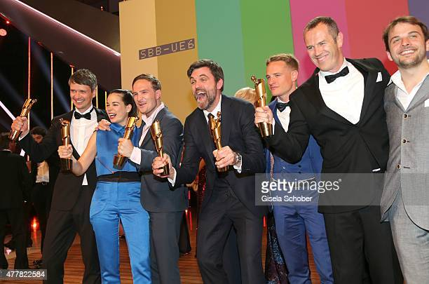 Sturla Brandth Grovlen Laia Costa Frederick Lau Sebastian Schipper Jan Dressler and Nils Frahm attend the German Film Award 2015 Lola party at Palais...