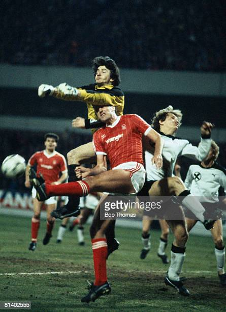 Sturm Graz goalkeeper Walter Saria under pressure from Nottingham Forest's Paul Hart during their UEFA Cup quarterfinal 1st leg at the City Ground...