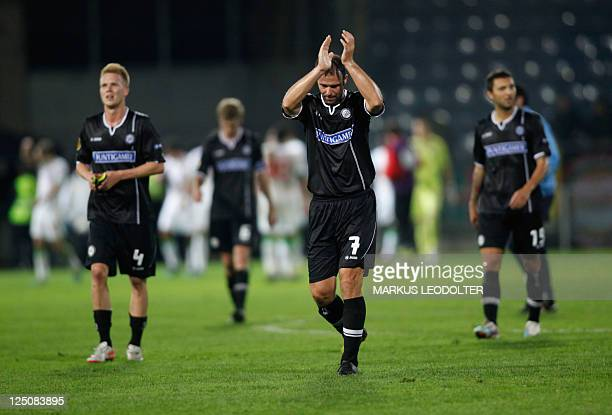Sturm Graz's Mario Haas applauds his team's supporters during the UEFA Europa League football match between Sturm Graz and Lokomotive Moskva at UPC...