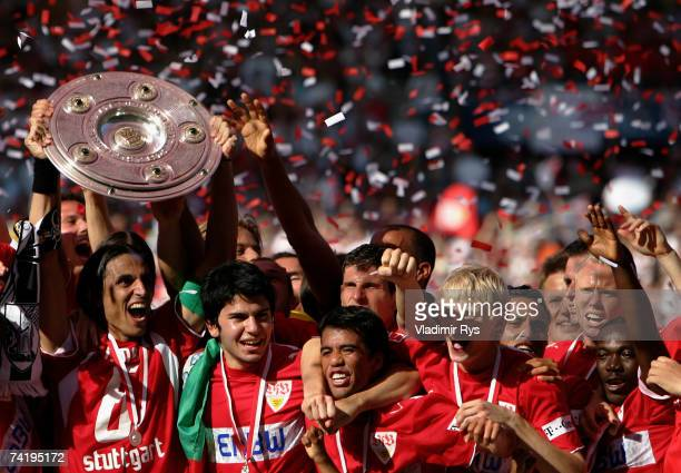 Stuttgart celebrates with the German championship trophy after the Bundesliga match between VfB Stuttgart and Energie Cottbus at the Gottlieb Daimler...
