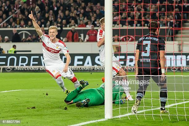 Stuttgart Deutschland 2 Bundesliga 10 Spieltag VfB Stuttgart TSV 1860 Muenchen bejubelt sein Tor zum 20 Timo Baumgartl