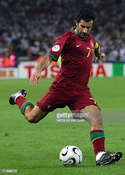 Portuguese forward Luis Figo is about to kick the ball during the World Cup 2006 third place playoff football game Germany vsPortugal 08 July 2006 at...