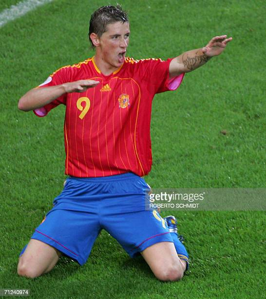 Spanish forward Fernando Torres celebrates after scoring the goahead goal during the opening round Group H World Cup football match between Spain and...