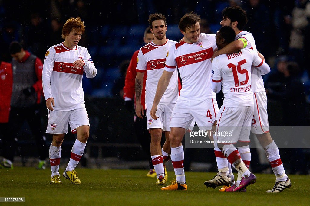 Stuttgart players celebrate after the UEFA Europa League Round of 32 second leg match between KRC Genk and VfB Suttgart at Cristal Arena on February 21, 2013 in Genk, Belgium.