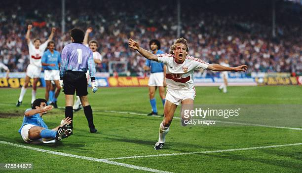 Stuttgart striker Jurgen Klinsmann celebrates after scoring the first Stuttgart goal in the 1989 UEFA Cup Final second leg between VFB Stuttgart and...