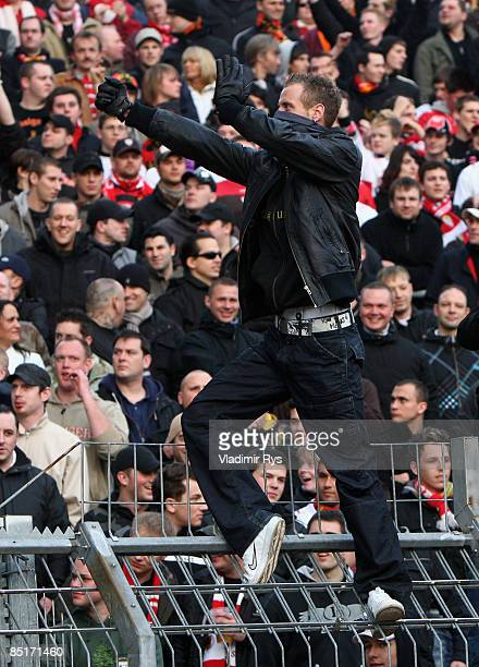 Stuttgart supporters are seen during the Bundesliga match between Karlsruhe SC and VfB Stuttgart at the Wildpark stadium on February 27 2009 in...