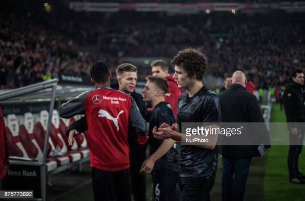 Stuttgarts Benjamin Pavard and his team mates celebrate their victory after the final whistle Bundesliga match between VfB Stuttgart and Borussia...
