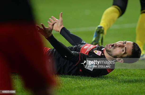 Stuttgart's Bosnian striker Vedad Ibisevic reacts during the German first division Bundesliga football match VfL Wolfsburg vs VfB Stuttgart in the...