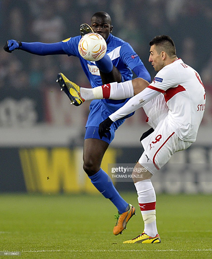 Stuttgart's Bosnian-Herzegovinian forward Vedad Ibisevic (R) and Genk's French defender Kalidou Koulibaly vie during the UEFA Europa League football match Stuttgart - KRC Genk on February 14, 2013 in Stuttgart, southern Germany.
