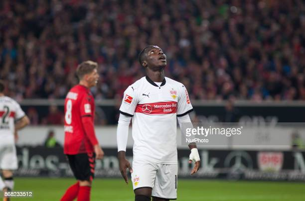 Stuttgarts Chadrac Akolo wasted an opportunity to score a goal during the Bundesliga match between VfB Stuttgart and SportClub Freiburg at...