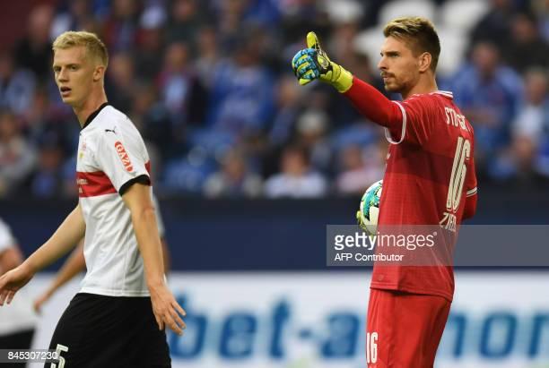 Stuttgart's goalkeeper RonRobert Zieler reacts during the German First division Bundesliga football match FC Schalke 04 vs VfB Stuttgart in...