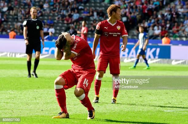 Stuttgart's Greek forward Anastasios Donis reacts during the German First division Bundesliga football match Hertha Berlin vs VfB Stuttgart in Berlin...