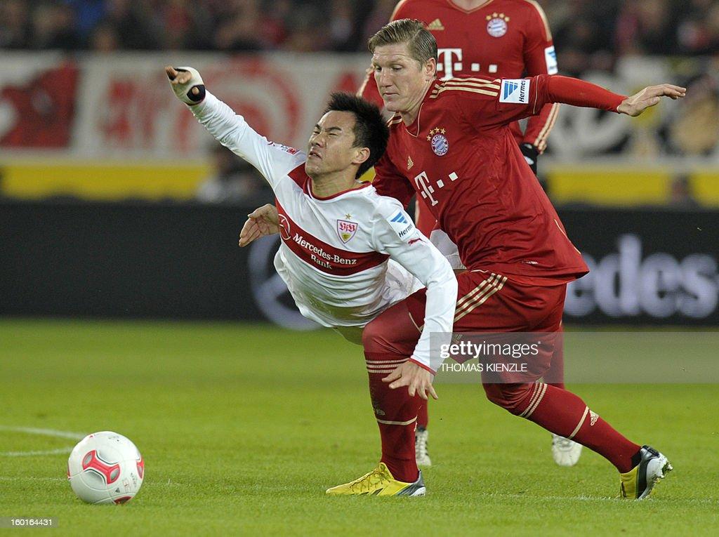 Stuttgart's Japanese forward Shinji Okazaki (L) and Munich's midfielder Bastian Schweinsteiger vie for the ball during the German first division Bundesliga football match between VfB Stuttgart and Bayern Munich in Stuttgart, southwestern Germany, on January 27, 2013.